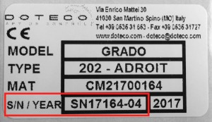 Etichetta matricola Doteco serial number